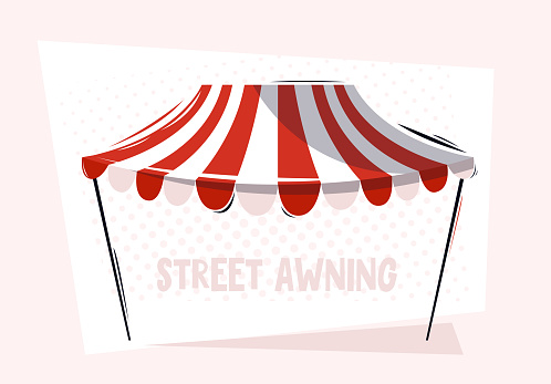 Vector illustration of a store street awning, fabric visor for a store