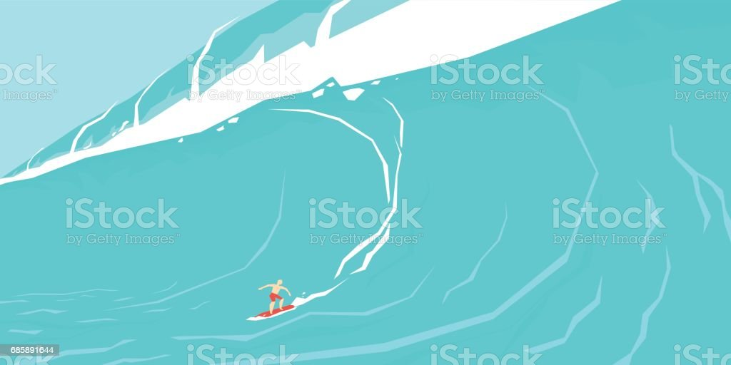 Vector illustration of a surfer sliding on a big wave vector art illustration