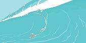 Vector illustration of a surfer sliding on a big wave