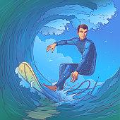 Vector illustration of a surfer