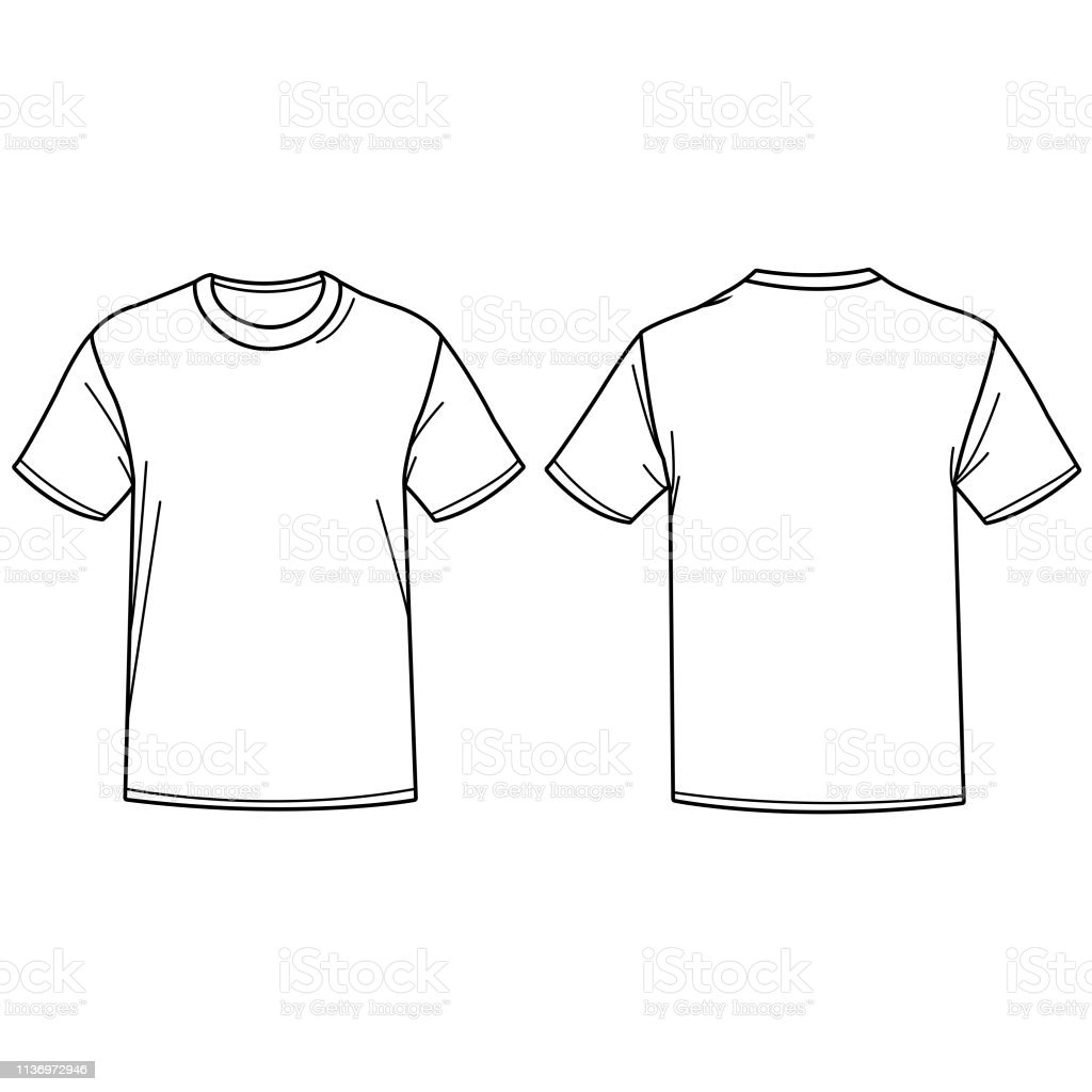 Vector illustratie van een t-shirt. Voor-en achterzijde te bekijken. - Royalty-free Bovenkleding vectorkunst