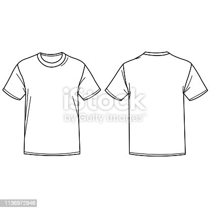 istock Vector illustration of a t shirt. Front and back view. 1136972946