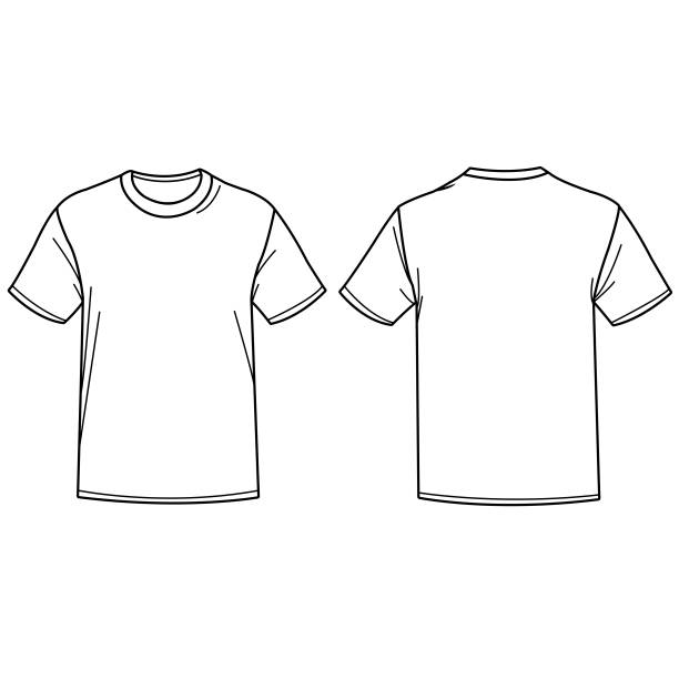 ilustrações de stock, clip art, desenhos animados e ícones de vector illustration of a t shirt. front and back view. - teeshirt template
