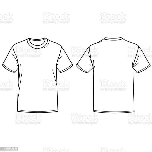 Vector Illustratie Van Een Tshirt Vooren Achterzijde Te Bekijken Stockvectorkunst en meer beelden van Bovenkleding