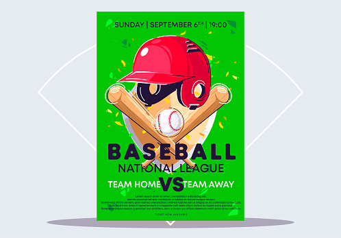 vector illustration of a template for a poster for a national championship baseball game, sports equipment for playing baseball, a baseball bat, a baseball ball and a helmet