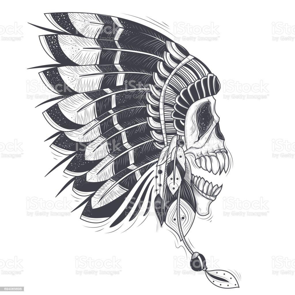 Illustration De Vecteur Dun Modele Pour Un Tatouage Avec Un Crane