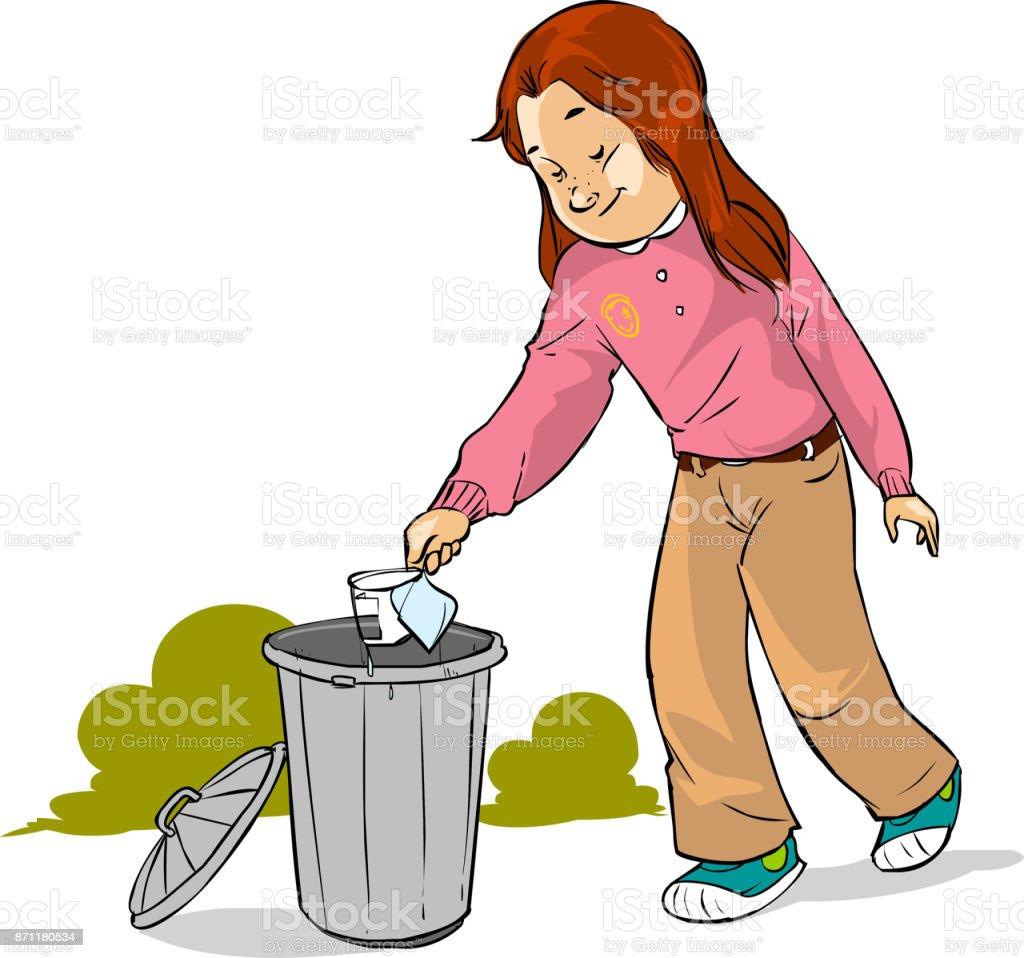 Vektör çizimi Bir çocuk çöp Atmak Stok Vektör Sanatı Alışverişnin