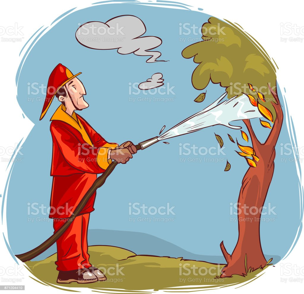 vector illustration of a The firemen extinguished the burning tree water vector art illustration