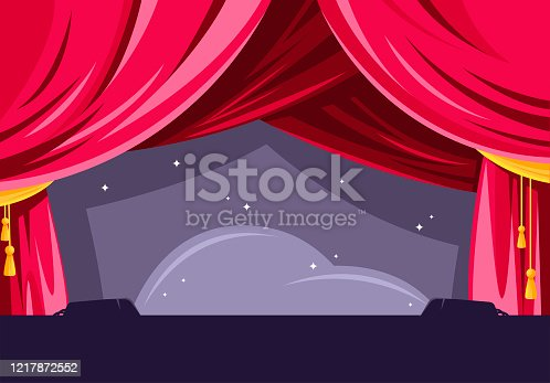 Vector illustration of a theater stage, with red curtains, backstage