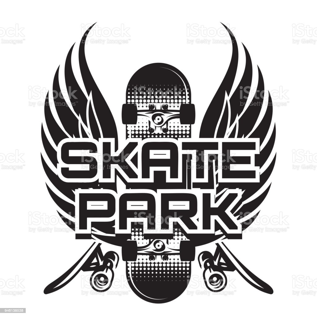 Vector Illustration Of A Theme Skateboarding With Wings Stock Vector