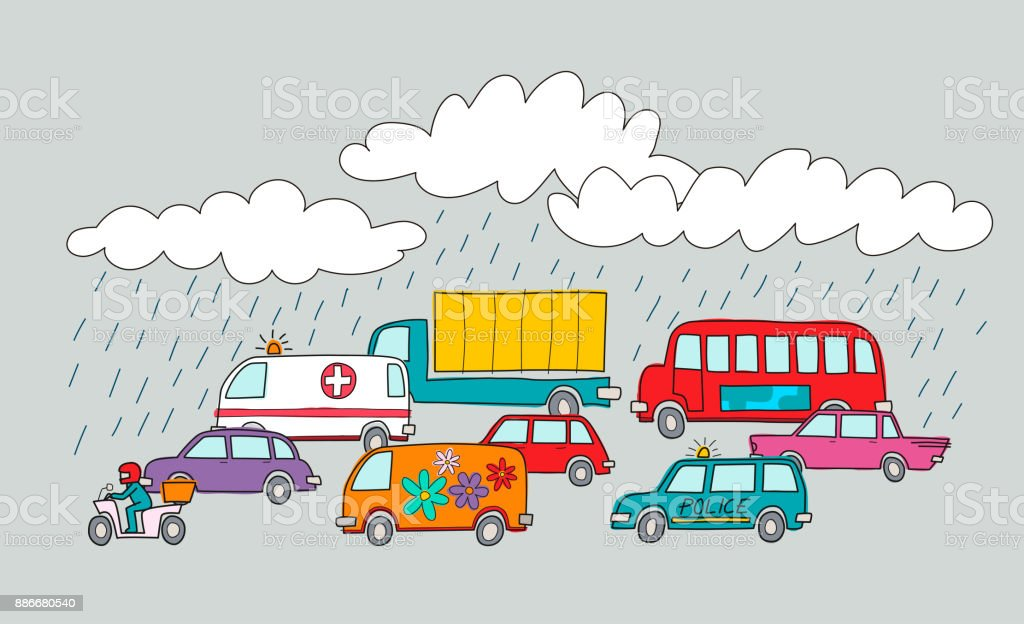 Vector Illustration Of A Traffic Jam In A Rainy Day Cartoon Style Stock Illustration Download Image Now Istock