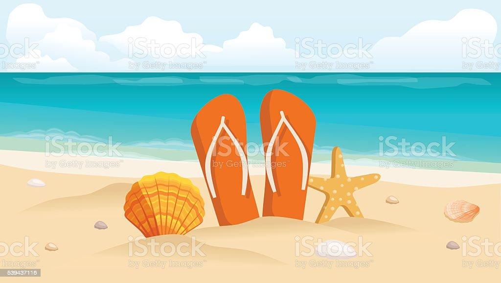 Ilustração vetorial de um cartão postal de viagem, folheto de, praia, mar, conchas - ilustração de arte em vetor
