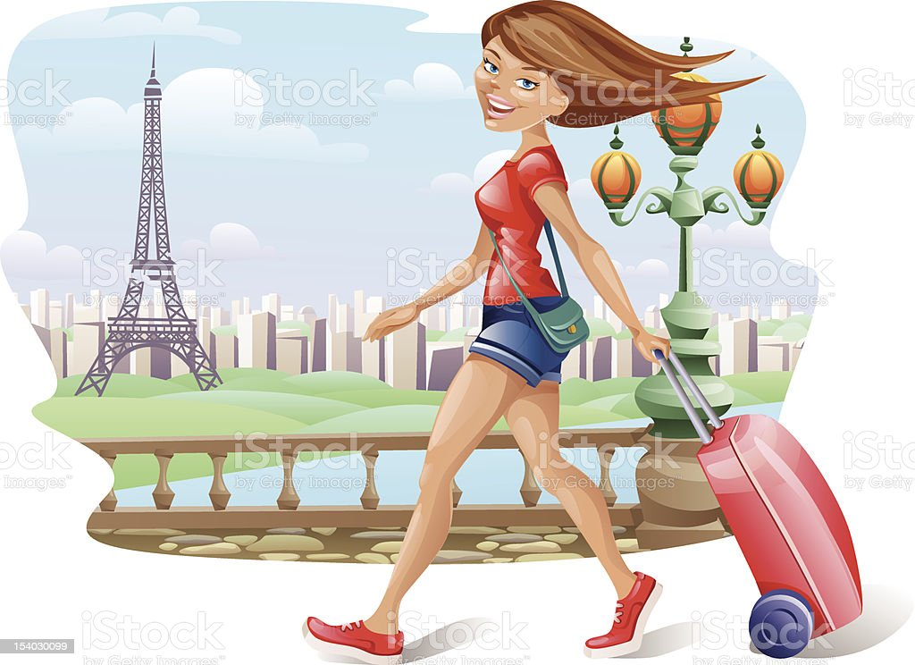 Vector illustration of a travelling girl. Paris theme. royalty-free stock vector art