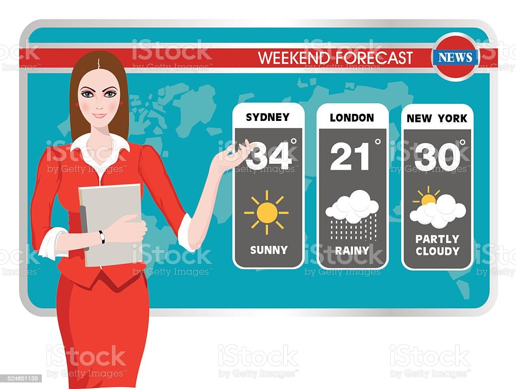 Vector illustration of a TV weather reporter at work vector art illustration