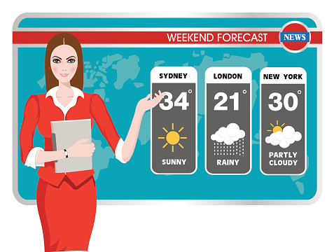 Vector Illustration Of A Tv Weather Reporter At Work Stock ...