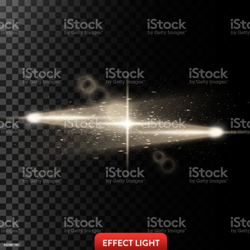 Vector illustration of a two golden light rays with glitter, a light...