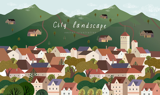 Vector illustration of a village town in Europe, cityscape with houses, mountains and trees, background for poster, covers, cards, banner