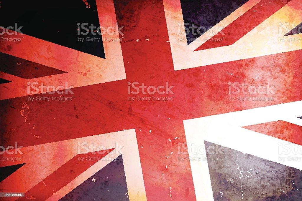 Vector illustration of a vintage flag of United Kingdom