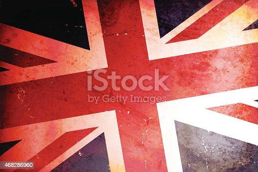 Vector illustration of old grunge UK flag.
