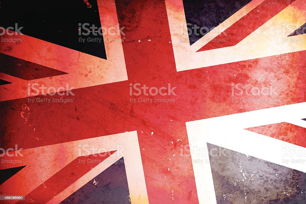 Vector illustration of a vintage flag of United Kingdom vector art illustration