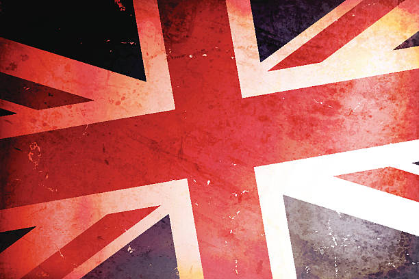 vector illustration of a vintage flag of united kingdom - union jack flag stock illustrations, clip art, cartoons, & icons