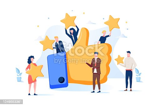 istock Vector illustration of a vote, measurement of customer satisfaction, star rating, satisfactory rating, hand show class 1249553361