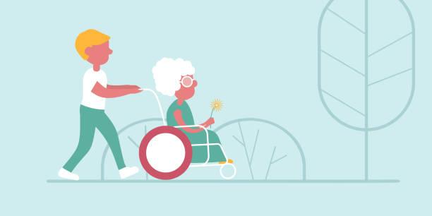 bildbanksillustrationer, clip art samt tecknat material och ikoner med en vektor illustration av en promenad i ett vård hem - elderly care