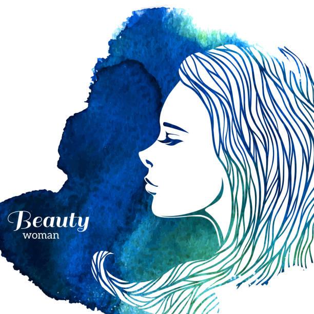 水彩ファッションの女性長い髪に仕上げます。ベクトルイラスト。 - 美容室点のイラスト素材/クリップアート素材/マンガ素材/アイコン素材