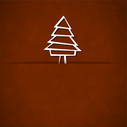 A vector illustration of a white colored Christmas tree slid from trunk into a slit over dark brown color xmas background