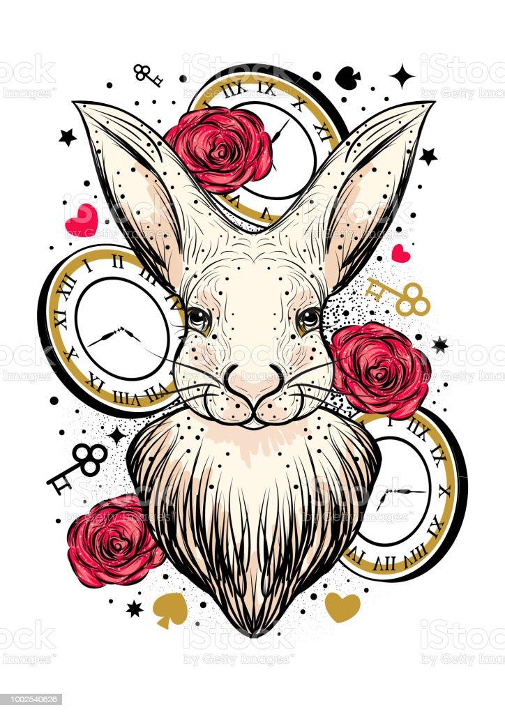白うさぎの時計と赤いバラのベクター イラストです不思議の国のアリスの