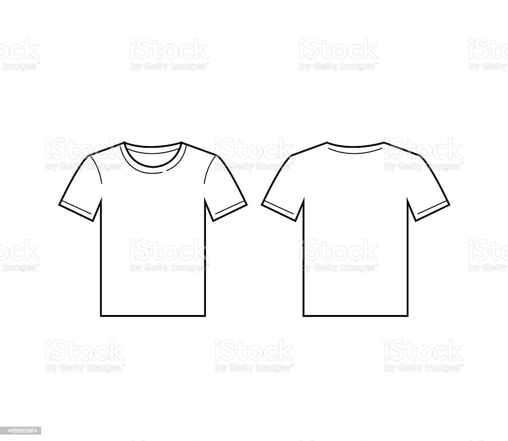 Vector illustration of a white tshirt with front & back view vector art illustration