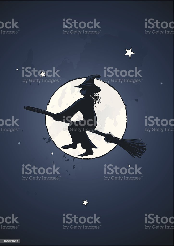 Vector illustration of a wich riding broom at full moon royalty-free vector illustration of a wich riding broom at full moon stock vector art & more images of broom