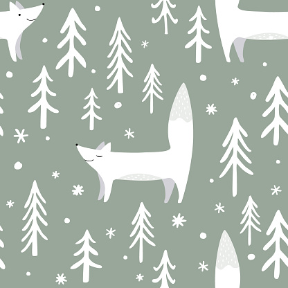 Vector illustration of a Winter Forest Seamless Pattern with trees and foxes