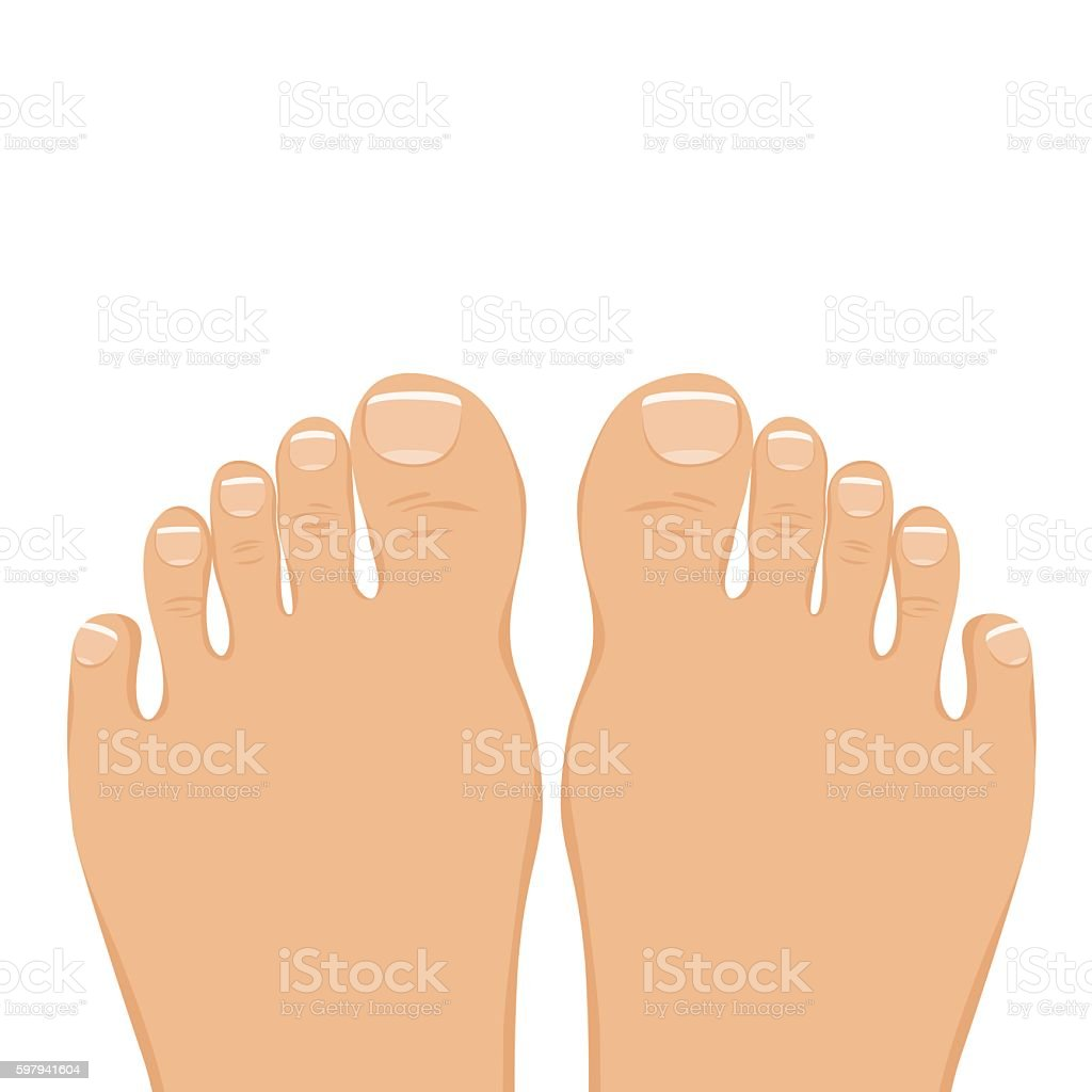 Vector illustration of a woman barefoot. Top view. ilustração de vector illustration of a woman barefoot top view e mais banco de imagens de arte royalty-free