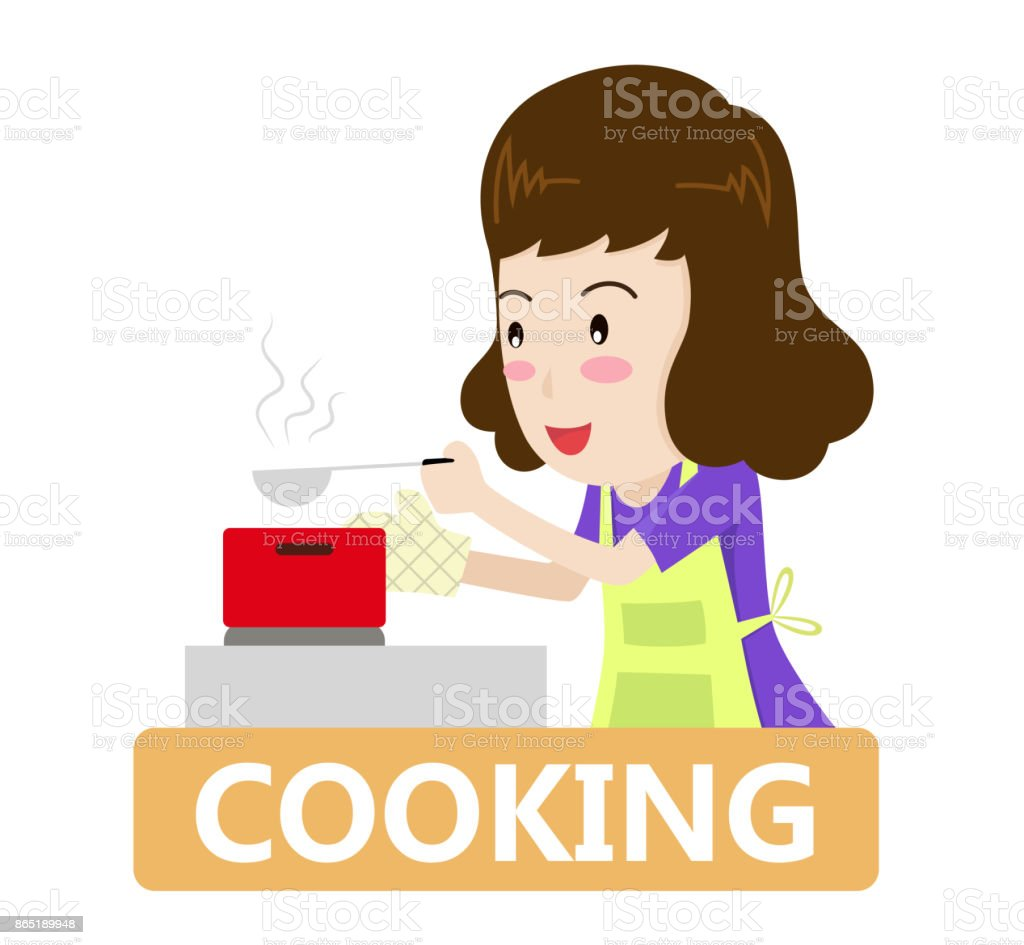 Vector illustration of a woman cooking in the kitchen - cooking concept vector art illustration