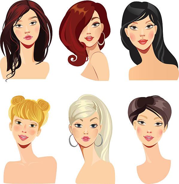 のベクトルイラストレーション、女性の顔、ヘアスタイリング - 髪型点のイラスト素材/クリップアート素材/マンガ素材/アイコン素材