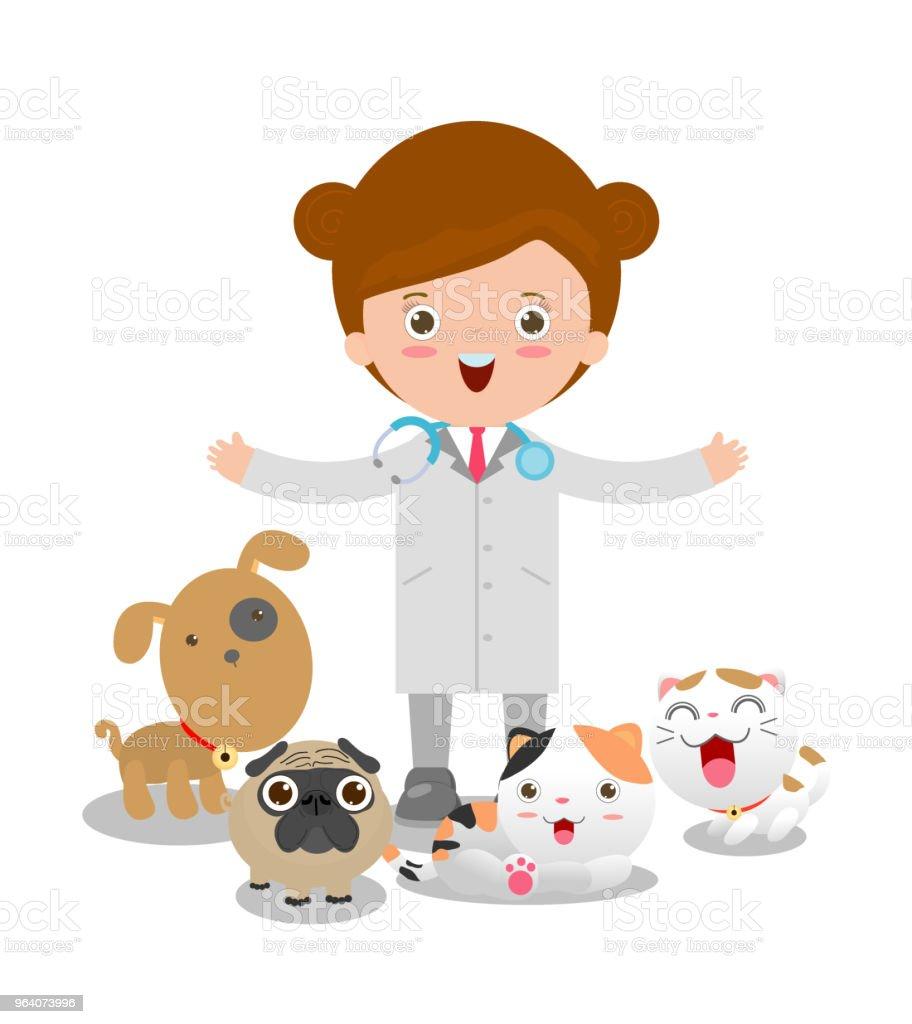 ベクトルの女性獣医医師やペットのイラスト: 猫、犬 - イラストレーションのロイヤリティフリーベクトルアート