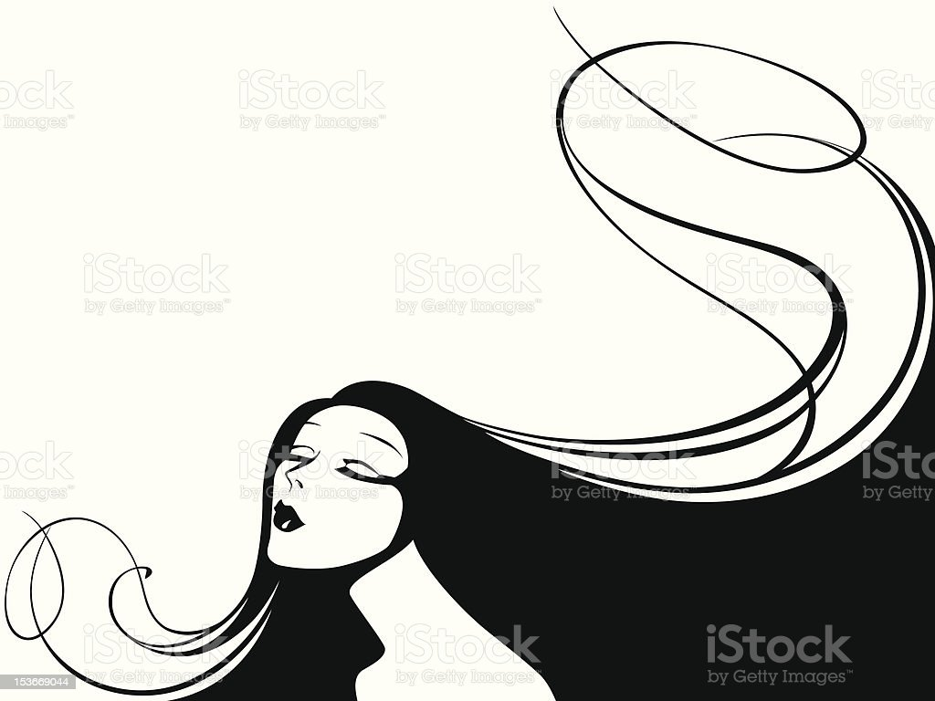 vector illustration of a woman with long hair. vector art illustration