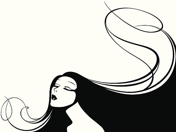 vektor-illustration einer frau mit langen haar. - langhaar stock-grafiken, -clipart, -cartoons und -symbole