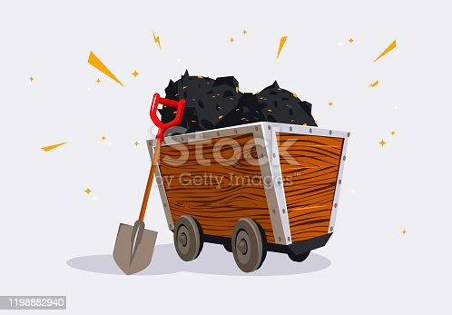 vector illustration of a wooden mining trolley for mining ore, filled with ore with gold particles, shovel for excavation