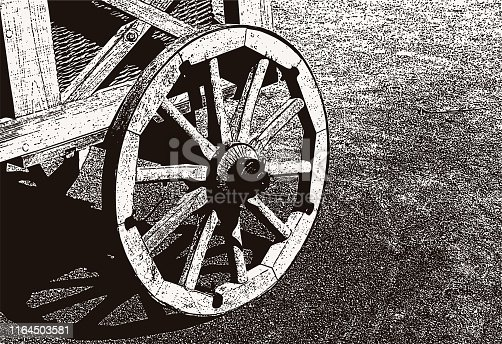 Vector image of a wooden wheel of an old trolley.