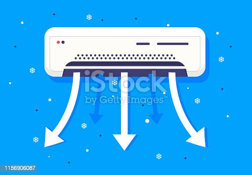 Vector illustration of a working air conditioner hanging on the wall, refreshes and cools the air