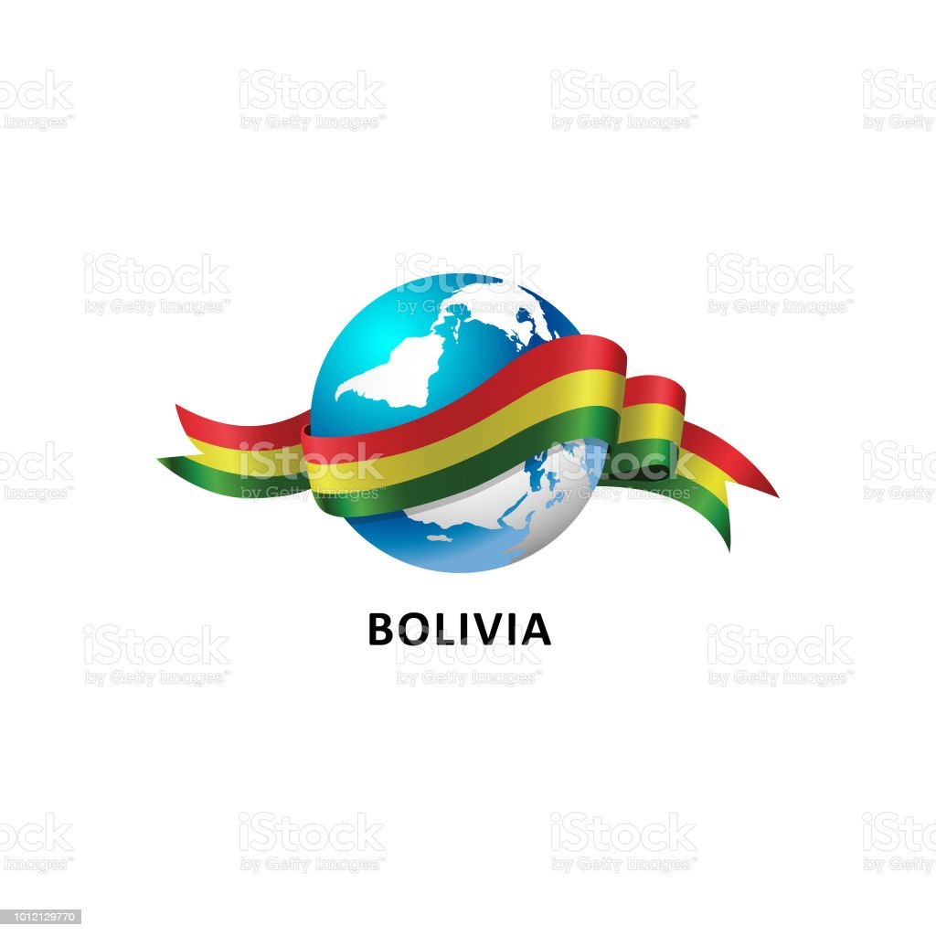Vector ilustración de un mundo – con la bandera de bolivia - ilustración de arte vectorial