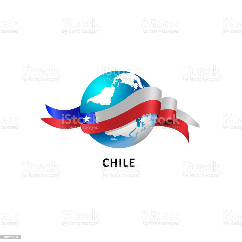 Vector Illustration of a world – world with the chile flag vector art illustration