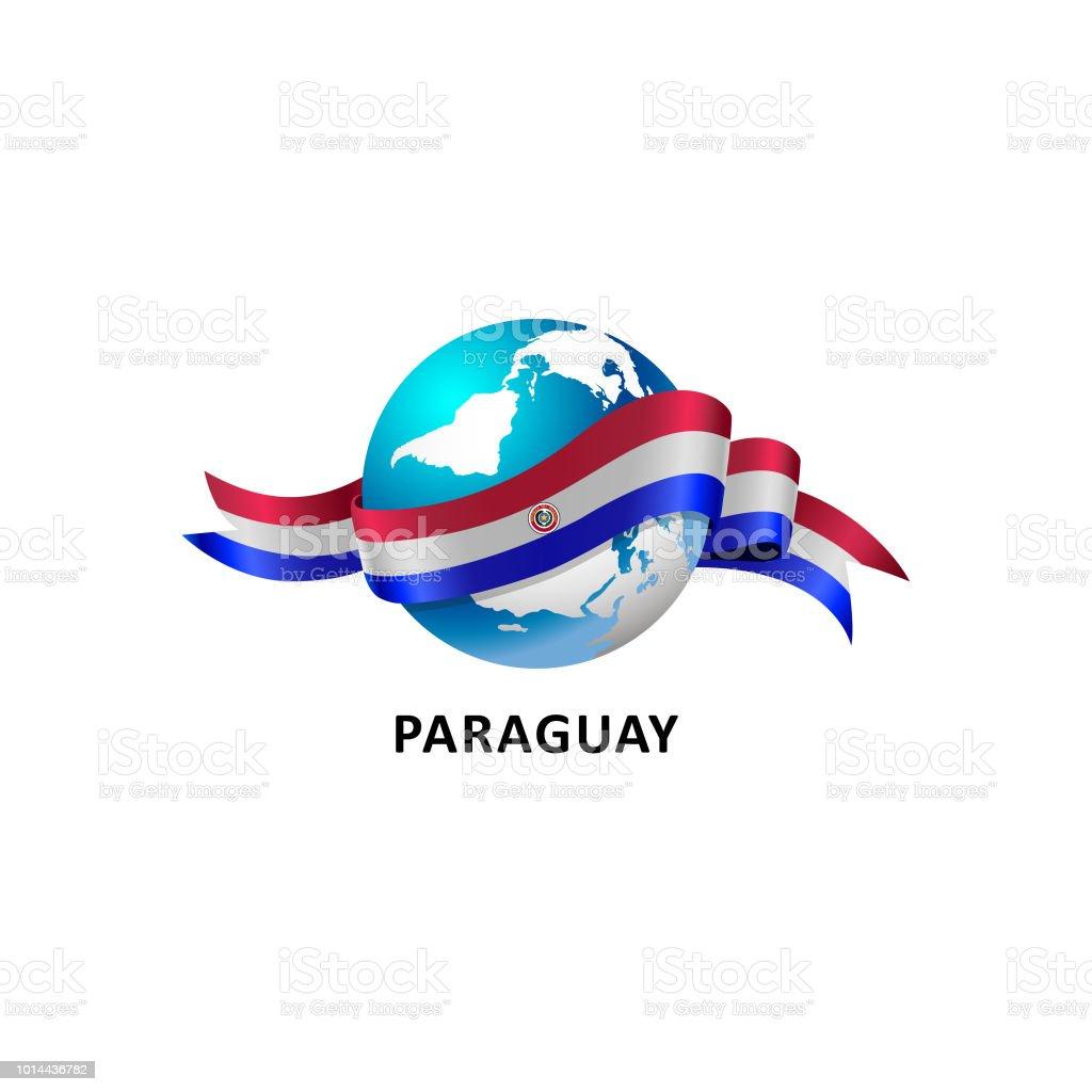 Vector ilustración de un mundo – con la bandera de Paraguay - ilustración de arte vectorial