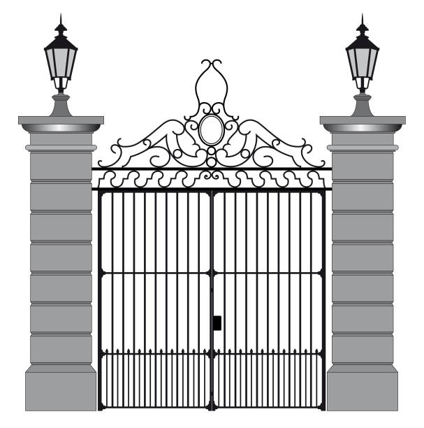 vector illustration of a wrought iron gate vector illustration of a wrought iron gate. gate stock illustrations