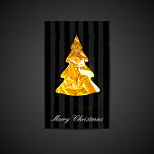 vector illustration of a Xmas postcard with golden foil Christma