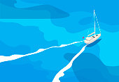 Vector illustration of a yacht in the open sea, top view, bird's-eye view
