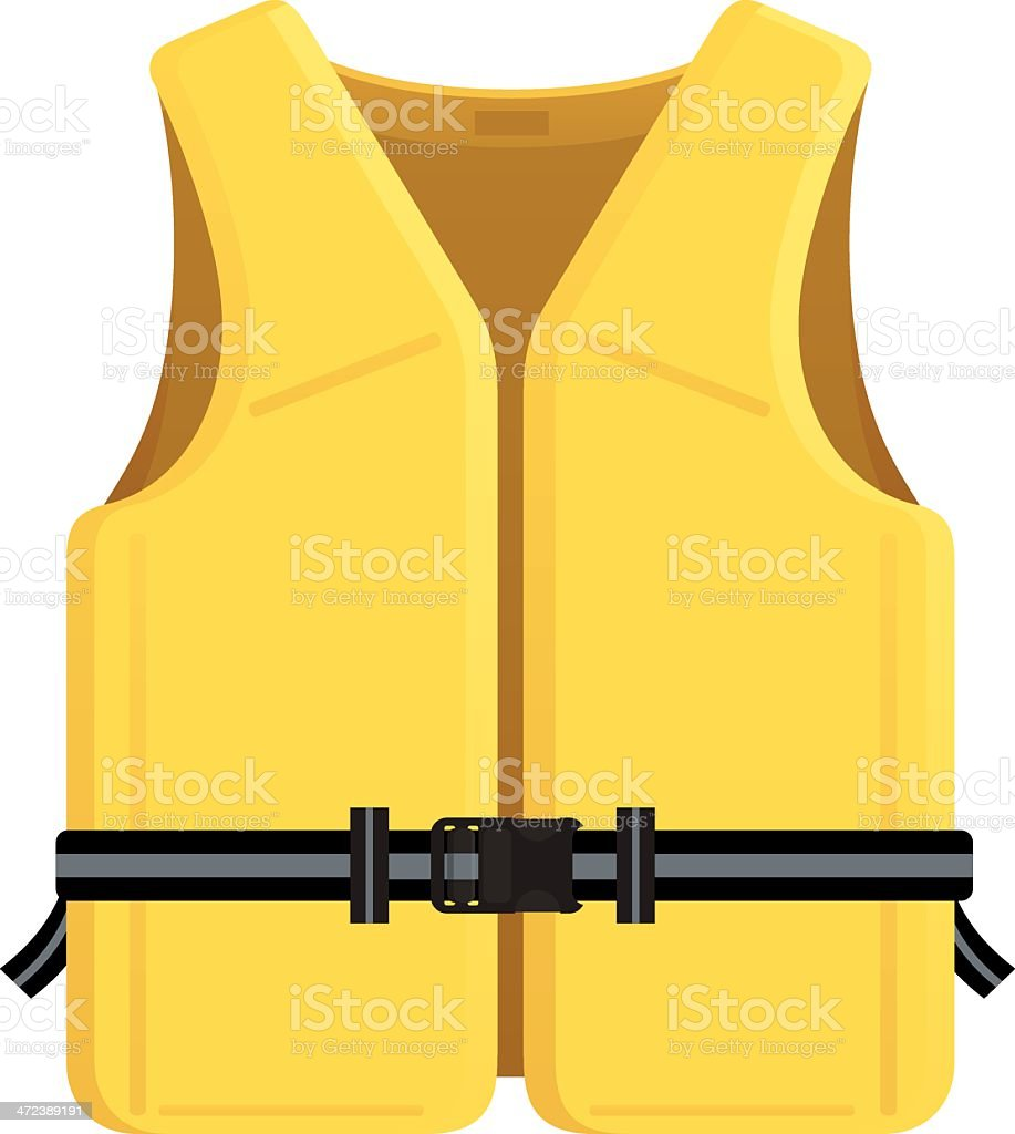 Vector illustration of a yellow life jacket vector art illustration