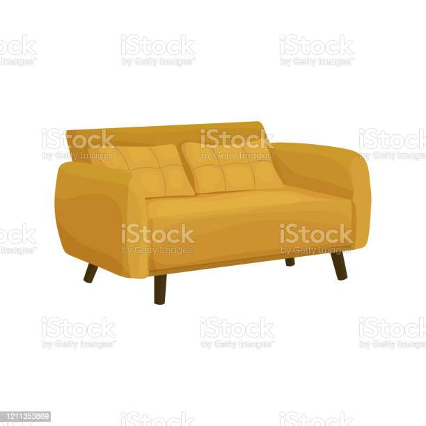 Vector Illustration Of A Yellow Sofa Side View In Cartoon Style Big Couch Furniture For Interior Isolated On A White Background Stock Illustration Download Image Now Istock